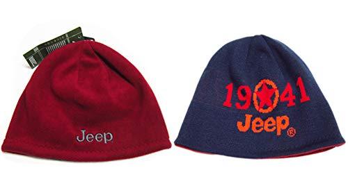 Ski Logo Cap Hat (Jeep 1941 Winter Thicken Polar Fleece Knit Ski Reversible Beanie Hat (Dark Blue, One Size))