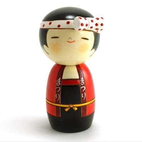 YokohamaUSA Japanese Sushi Kokeshi Girl Handcraft 5.75'' MATSURI Wooden Red Doll/Made Japan by YokohamaUSA