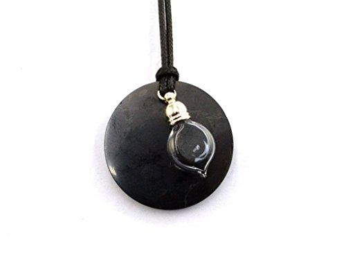 Wallystone Gems: Pendant Genuine Shungite Circle, Glass Bottle Vial Pendant Heart Powder Shungite, Double EMF Protection, Energy Pendant