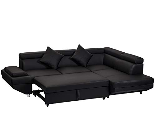 Leather Sofa Modern Sets - BestMassage Corner Sofas Sets for Living Room, Leather Sectional Corner Sofa with Functional Armrest and Support