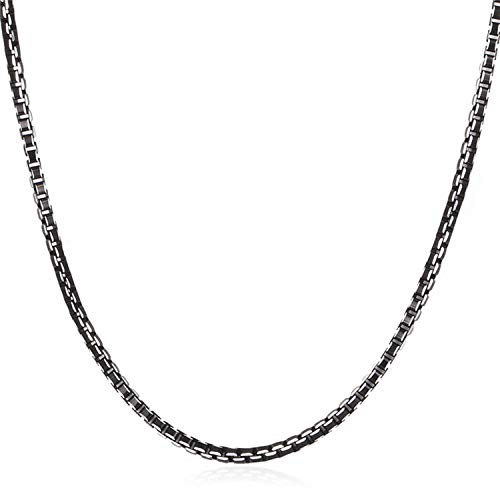 Necklace Men Jewelry Trendy Cool Black Collar Alloy Jewelry Wholesale 3mm/6mm Box Link Chain Necklaces Gift,3mm 18inch