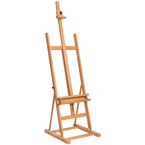 Marble Field Multi-Function H-Frame Artist Easel, Floor Easel, Adjustable Canvas Tray Height Beech Natural ()