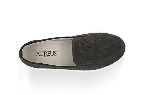 Aureus Womens Candice Pressato Nubuck Low Top Slip-on Fashion Sneaker Grigio Antracite