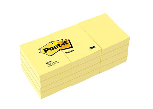 - Post-it Notes, America's #1 Favorite Sticky Note, 1 3/8 X 1 7/8 Inches, Canary Yellow, 12-Pads/Pack
