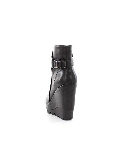 CAF NOIR GC928 schwarze Schuhe Frauen hohe Keilabsatz Stiefel Stummel zip I16.010 NERO