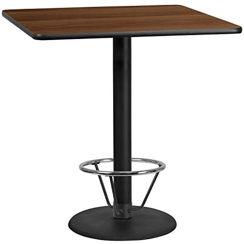 MFO 42'' Square Walnut Laminate Table Top with 24'' Round Bar Height Table Base and Foot Ring