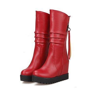 LFNLYX Mujer-Tacón Cuña-Punta Redonda / Botas a la Moda-Botas-Oficina y Trabajo / Vestido / Casual-Semicuero-Negro / Marrón / Rojo / Blanco Brown