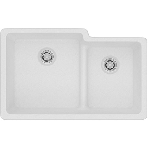 Elkay Quartz Classic ELGULBO3322WH0 White Offset 60/40 Double Bowl Undermount Sink with Aqua Divide