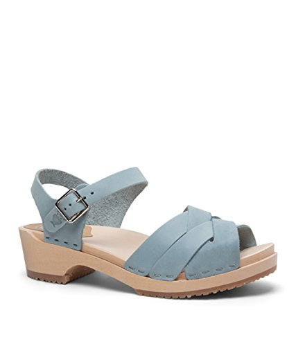 Blue Light Heel Sandgrens Rio Wooden Grande Sandals Women Swedish Low Clog wrvrtz