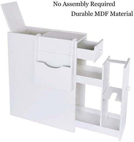 picture of UStyle Bathroom Storage Floor Cabinet Wood Slim Bathroom Cabinet Standing