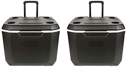 Coleman Wheeled Cooler Xtreme Cooler Keeps Ice Up to 5 Days Heavy-Duty 50-Quart Cooler with Wheels for Camping, BBQs, Tailgating Outdoor Activities 50-Quart, Black 2 Pack