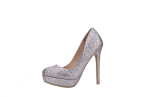 Mila Lady ELVA09 Women Fashion Embellished Sparkles Party Pumps High Heel Stilettos Sexy Slip On Dress Shoes, SILVER5.5