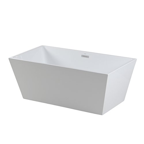 Sale!! FerdY 59'' Acrylic Stand Alone Bathtub, White Modern Freestanding Bathtub Soaking Bathtub, Ea...