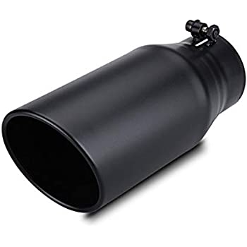 aFe Power 49-92011-B 3.5-Inch Inlet x 4.5-Inch Outlet x 12-Inch Length 304 Stainless Steel Exhaust Tip with Wrinkle Black Finish Slash Rolled Cut Edge