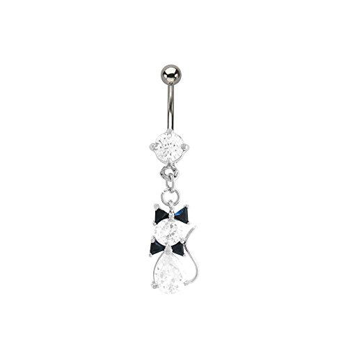 Adorable Jeweled Kitty Dangling Stainless Steel Belly Button Ring (Tiger Belly Button Rings compare prices)