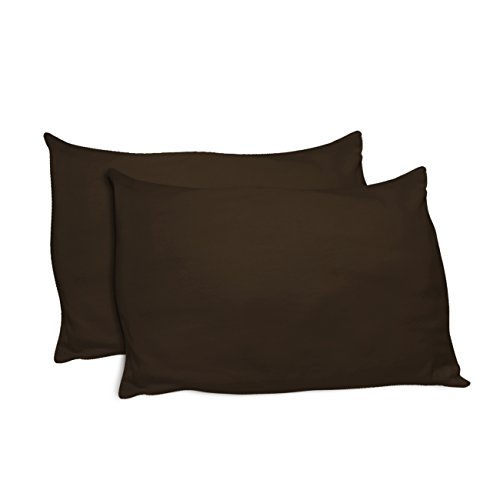 Betty Dain Stretch Jersey Universal Pillowcase - One Size fits All Pillows, Made in USA, Brown (Set of 2)