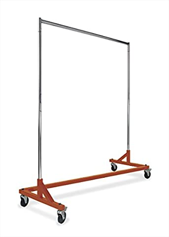 Econoco Commercial Rolling Z Rack with KD Construction   Durable Square Tubing - Heavy Duty Steel Tubing