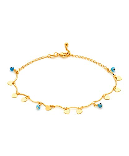 Barzel 18k Gold Plated Evil Eye Anklet Bracelet (ANK1247) ()