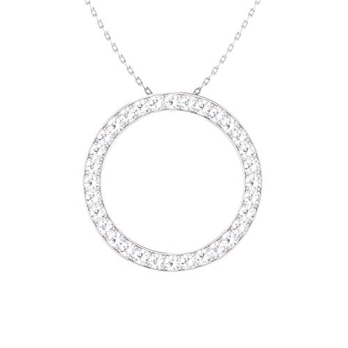 Diamondere Natural and Certified Diamond Circle Necklace in 14k White Gold | 0.49 Carat Pendant with Chain