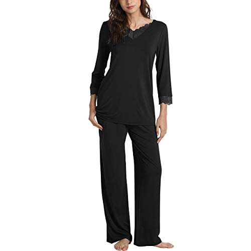 WiWi Bamboo Long Sleeve Moisture Wicking Sleepwear for Women Laced V Neck  Pajamas Pants Set S d21382ac6