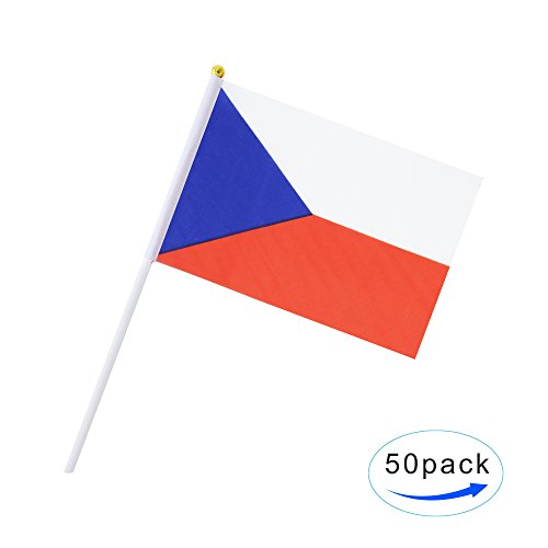 Hand Held Czech Republic Flag Czech Flag Stick Flag Mini Flag 50 Pack Round Top National Country Flags, Party Decorations Supplies For Parades,World Cup,Sports Events,International Festival (Flag Country Republic)