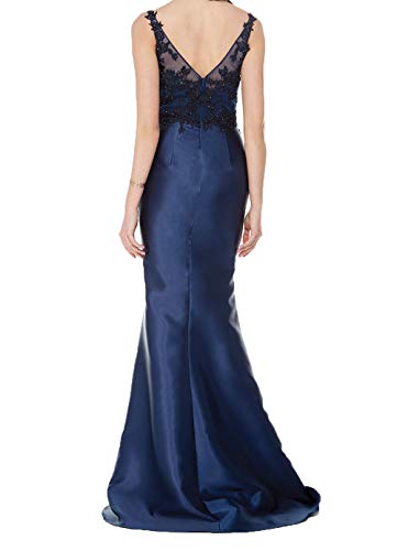 Abendkleider Elegant Fuchsia Lang Damen Spitze mit Brautmutterkleider Applikation Dunkel Charmant Abschlussballkleider Satin AwU5Tqt