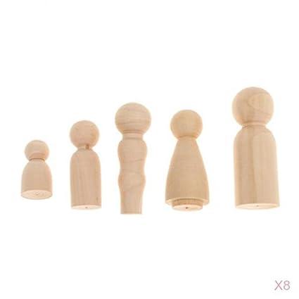 Amazon Com Monkeyjack 40 Pieces Wooden Peg Dolls Little Family