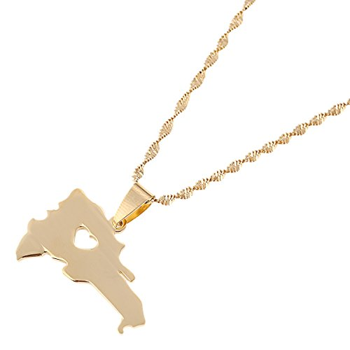 - The Dominican Republic Map Pendant Jewelry Women Gold Color Jewelry Map of Dominican