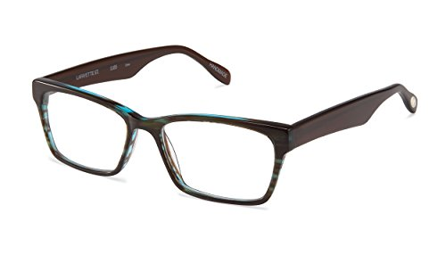 Lafayette Street - Square Trendy Fashion Reading Glasses for Men and Women - Cyan Wisp/Espresso Brown (+3.00 Magnification Power) (Scojo Street Glasses Reading)