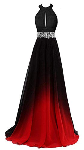 ZVOCY Halter Gradient Chiffon Long Prom Dress Ombre Beads Evening Dresses Red 10 ()