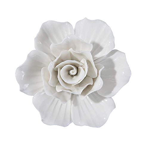ALYCASO 3D Ceramics Rose Flowers, 5.5 inch, B-White -