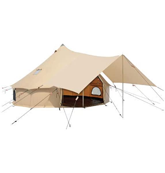Amazon Com Awning For Premium 100 Cotton Canvas Bell Tent In Beige White Color Complete Canopy With Poles For All Season Camping And Glamping Sports Outdoors