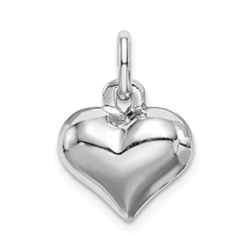 Heart Plated Puffed (Sterling Silver Rhodium-plated Puffed Heart Charm)