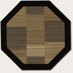 Couristan 0766/0601 Everest Hamptons/Multi Stripe-Black 5-Feet 3-Inch Octagon Rug - Multi Stripe Square Rug