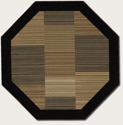 Couristan 0766/0601 Everest Hamptons/Multi Stripe-Black 5-Feet 3-Inch Octagon Rug (3'11 Octagon Area Rug)