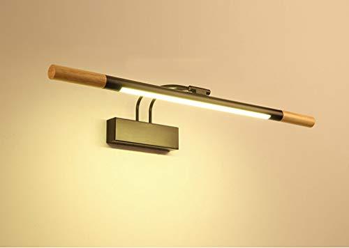 Faros de Espejo de Madera Maciza 7W 26 Pulgadas LED Espejo del baño luz del gabinete Acrílico Tubo Redondo Blanco cálido...
