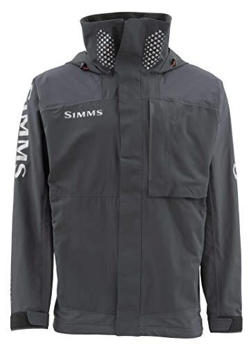 Simms Challenger Waterproof Fishing Jacket - Breathable Rain Coat - Sport Angler Windbreaker - Adjustable Hood & Fleece Lined Multi Pocket - Water Resistant Zippers, Black, XXX-Large