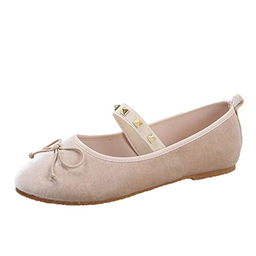 - Women Flats, LONGDAY Casual Sandals Ballet Shoes Studded Slippers Comfy Soft Sole Bow Pumps Elastic Band Slip On Beige