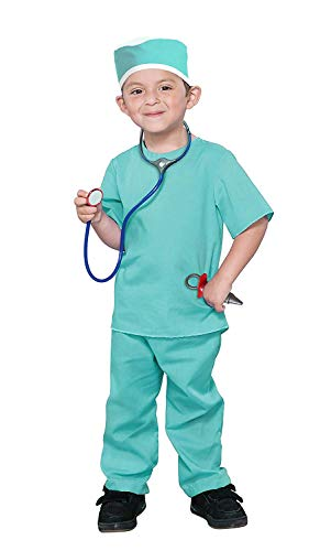 Dazzling Toys Washable Long Lasting Kids Pretend Doctor Nurse Costume Outfit Role Play Set with 6 Accessories -