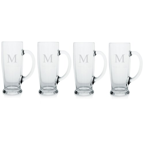 Cathy's Concepts Personalized Craft Beer Mugs, Set of 4, Letter M