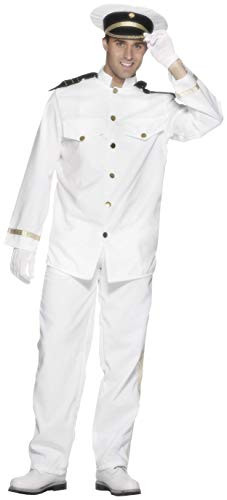 Smiffy's Men's Captain Costume with Jacket Trousers Cap and Gloves, White XL - US Size 46