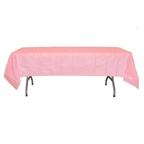 12-Pack Premium Plastic Tablecloth 54in. x 108in. Rectangle Table Cover - Pink (Pink Plastic Tablecloth Rectangle)
