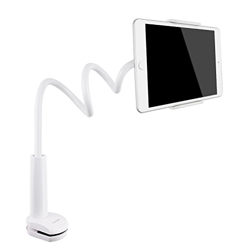 (Tryone Gooseneck Tablet Stand, Tablet Mount Holder Compatible with iPad iPhone Series/Nintendo Switch/Samsung Galaxy Tabs/Amazon Kindle Fire HD and More, 30in Overall Length(White))