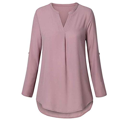 (Henleys,Toimoth Womens Daily Chiffon Long Sleeve Loose Solid V Neck Cuffed Shirt Blouse Tops(Pink,S))