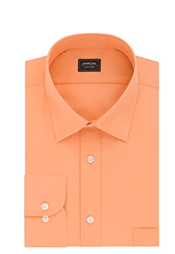 (Men's Arrow Athletic-Fit Solid Wrinkle Free Spread Collar Dress Shirt (Canela, 17-17.5 36-37))