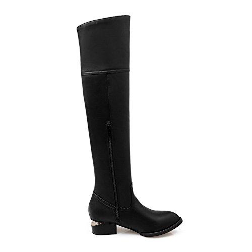 AgooLar Women's Round Closed Toe Solid High Top Kitten Heels Boots Black FmziKB63