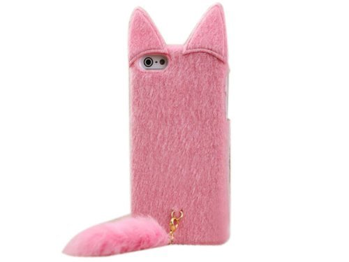 HELPYOU Pink iphone 4/4S Cute 3D Fluffy Plush Tail Cat Flexible TPU Case Cover For Apple iPhone 4 4G 4S (Iphone 4 Diamond Sunflower Case)