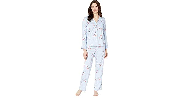 0483b154ac0 LAUREN RALPH LAUREN Women's Pointed Notch Collar Pajama Set Blue Floral  Print Small