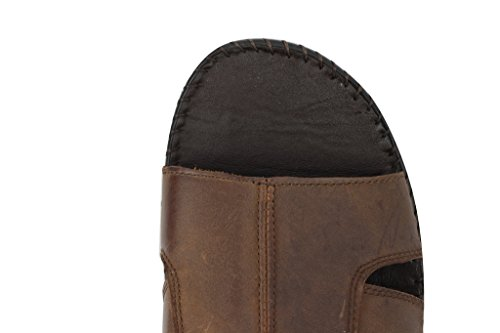 Sangle Croix pour Homme en Cuir Véritable Marron Mules à bout ouvert glisser sur sandales d'été plage pantoufles