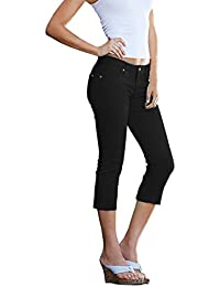 Hybrid & Co. Women's Butt Lift Super Comfy Stretch Denim Capri Jeans